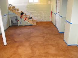 painted basement floorsPainting Unfinished Epoxy Basement Floor With Brown Color Decor