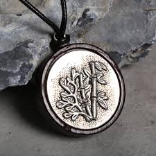 ethnic jewelry black sandalwood bamboo leaves round pendant vintage silver charm necklace for women 4