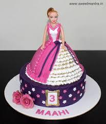 Barbie Theme 2 Layer Customized Designer Fondant Cake In Pink