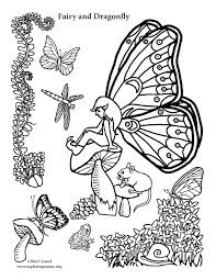 Small Picture Fairy and Dragonfly Coloring Page