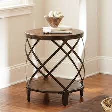 steve silver winston round distressed wood and metal end table made of durable wood decorative metal frame lower shelf and spacious top for
