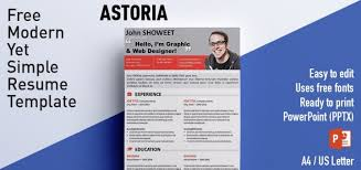 Resume In Powerpoint Astoria Clean Powerpoint Resume Cv Template