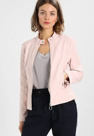 guess esther jacket faux leather jacket pink ivory kh53434