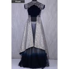 Buy Samyakk Grey Brocade Zardosi Embroidered Indo Western Lehenga online |  Looksgud.in
