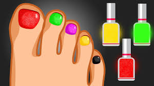 Learn Colors with Surprise Nail Art Foot Design - Colours Finger ...