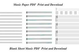 Music Paper Print Music Staff Paper Template Stave Paper Blank Music Staff