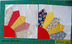 """Grandmother's Fan Tutorial - Seven-Stitches & Materials for 1 block: 10 ½"""" Square of background fabric 5 fat eighths or 5  fabric scraps measuring at least 6 ½"""" x 3"""" 7"""" square for centre Adamdwight.com"""