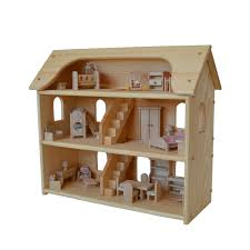 handcrafted natural wooden toy dollhouse set waldorf