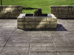 Floor Concrete Patio With Square Fire Pit Modern For Floor Concrete