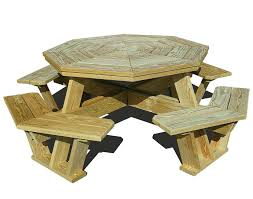 wooden picnic tables free octagon wooden picnic table plans quick woodworking projects round wood picnic tables