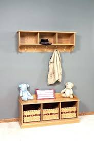Wall Coat Rack With Storage Enchanting Wall Coat Rack With Shelves Wooden Hanger And Shelf Using Black Iron