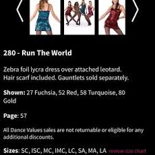 A Wish Come True Size Chart A Wish Come True Dance Costume 280 Run The World