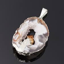 Купить <b>Кулон агат серый</b> Бразилия <b>срез</b> с кристаллом цитрина ...