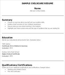 Child Care Resume Htm Child Care Resume Examples As Resume Cover
