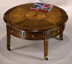 coffee table charming brown round antique wood round coffee table with wheels varnished ideas