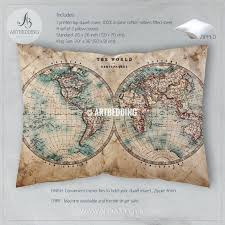 small size of world map duvet cover single old map bedding vintage old stained world map