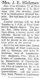 Cora Hickman obituary - Newspapers.com