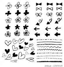 手書き チョークとクレヨンの素材 花 ハート 矢印 リボン 線 黒線の