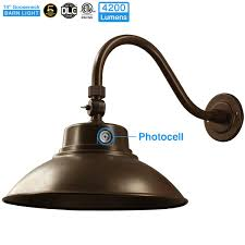 Led Gooseneck Barn Light 14in Brown Led Gooseneck Barn Light 42w 4200lm Daylight Led Fixture For Indoor Outdoor Use Photocell Included Swivel Head Energy Star Rated Etl