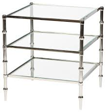 tiered square glass accent table in polished nickel finish