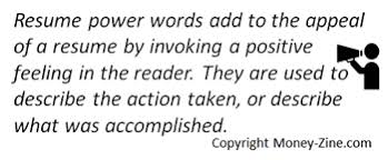Words For A Resume Resume Power Words