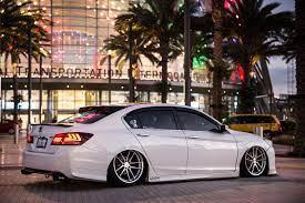White Honda Accord Is Lowered On Vertini Wheels Shod In Low Profile Tires Honda Accord Honda Accord Sport Honda Inspire
