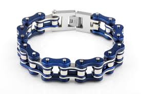 2016 hot 120g 19mm awesome blue silver snless steel biker motorcycle chain bracelet in chain link bracelets from jewelry accessories on