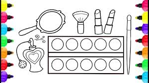 Make Up Set Coloring Pages How To Draw Make Up Set For Girls