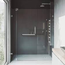 vigo vg6042chcl66 60 66 pirouette frameless pivot hinge shower door with smartadjust technology 3 8 clear tempered glass 304 stainless steel hardware