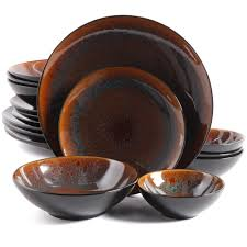 brown dinnerware sets. Contemporary Brown Gibson Elite Kioto 16 Piece Double Bowl Dinnerware Set Brown Inside Sets I