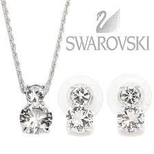 swarovski swarovski lady s necklace pierced earrings swarovski swarovski 1807339 brilliance brilliance necklace pendant pierced earrings set silver is