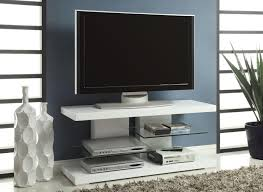 modern black tone wide screen tv stand with display shelves and