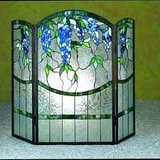 magnolia stained glass pattern fireplace screen fire blue wisteria screens decorative free patterns magno