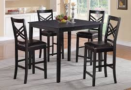 taya black finish pub table with 4 chairs set sosfund within design