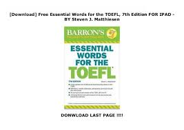Download Free Essential Words For The Toefl 7th Edition For Ipad