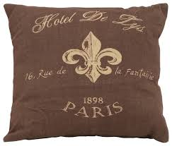 classic french brown fabric pillow beige fleur de lis home decor