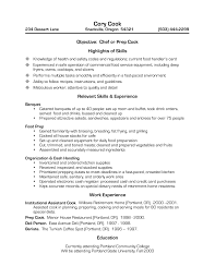 cooks resumes template cooks resumes