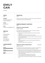 Restaurant Waitress Resume Sample Hostess Samples Free Host Party