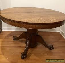 antique victorian large oak round dining table with claw feet for