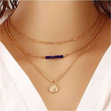 double layer simple chain bar necklace gold pendant
