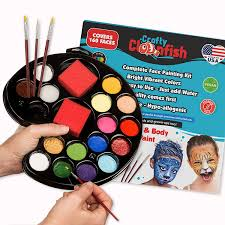 com face painting kit 16 color with 3 brushes 3 sponges free ebook face paint made in usa great for parties events school fair