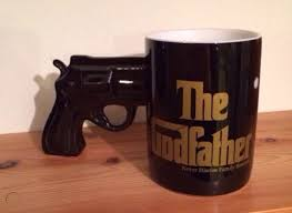 Ceramic mug with gun handle holds 16 oz of fluid holds hot and cold beverage dish washer safe gun handle for easy grip new & used (6) from $14.55 & free shipping on orders over $25.00. Unusual Gun Pistol Handle Mug Cup Ornament The Godfather Gangster 501331897