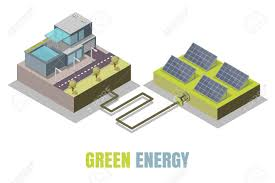 Green Technology House Design Green Energy Concept Vector Illustration Isometric Eco Friendly