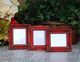 Red Photo Frames Ornate Wedding Picture Frames Set Of 3 Vintage Country Cottage Chic