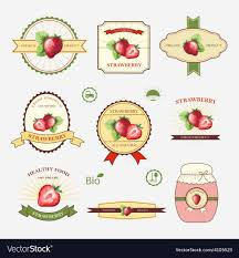 Label Design Templates Strawberry Set Of Label Design And Templates Vector Image