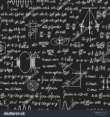 Physical seamless pattern with formulas, equations and figures, handwritten  on a blackboard seamless design