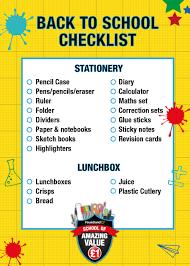 School Checklist Your Back To School Checklist Poundland