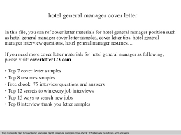 Brilliant Ideas Of Hotel General Manager Cover Letter In Cover