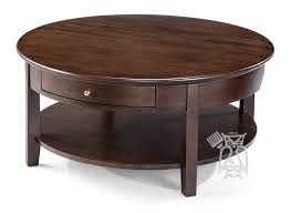 alder wood mckenzie 40 round coffee table with drawer in cafe finish 2 finish