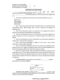 Affidavit Of Loss Lto Format Affidavit Philippines
